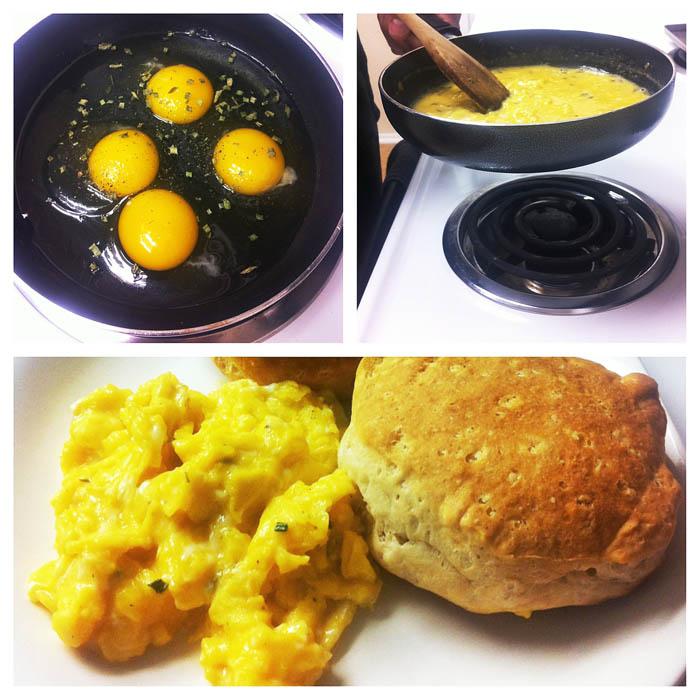 œufs brouilles crémeux, recette facile de cuisine