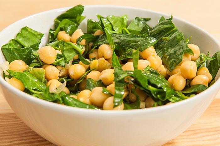 recette de salade de pois chiches et epinards