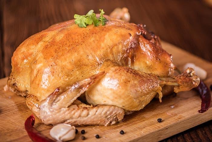poulet farci au four,  à la viande hachée : recette de cuisine facile