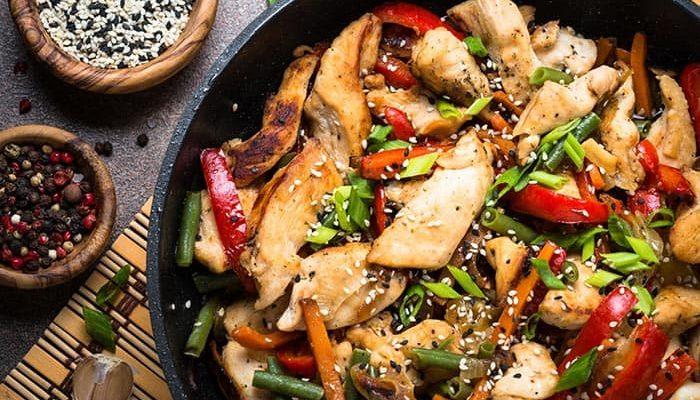 recette healthy rapide : wok de poulet